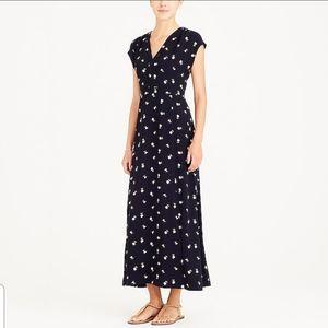 J. Crew Printed Floral V-Neck Maxi Dress